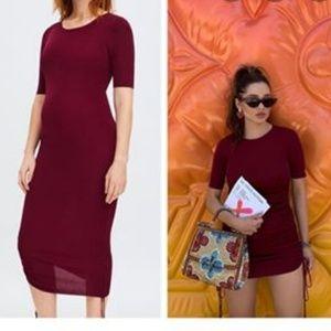 Zara Burgundy Red Drawstring Knit Dress 9874/015
